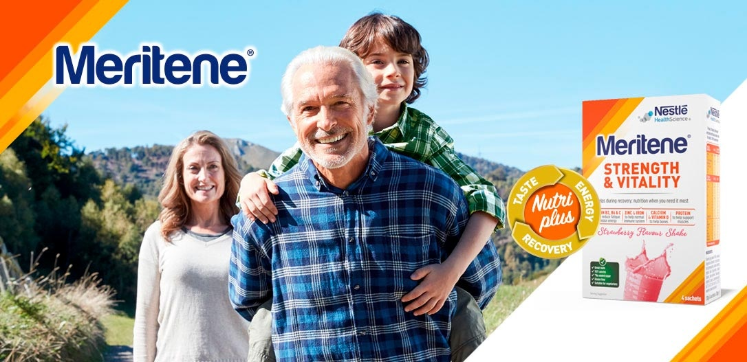 advertising campaign and pack Meritene Strength and Vitality