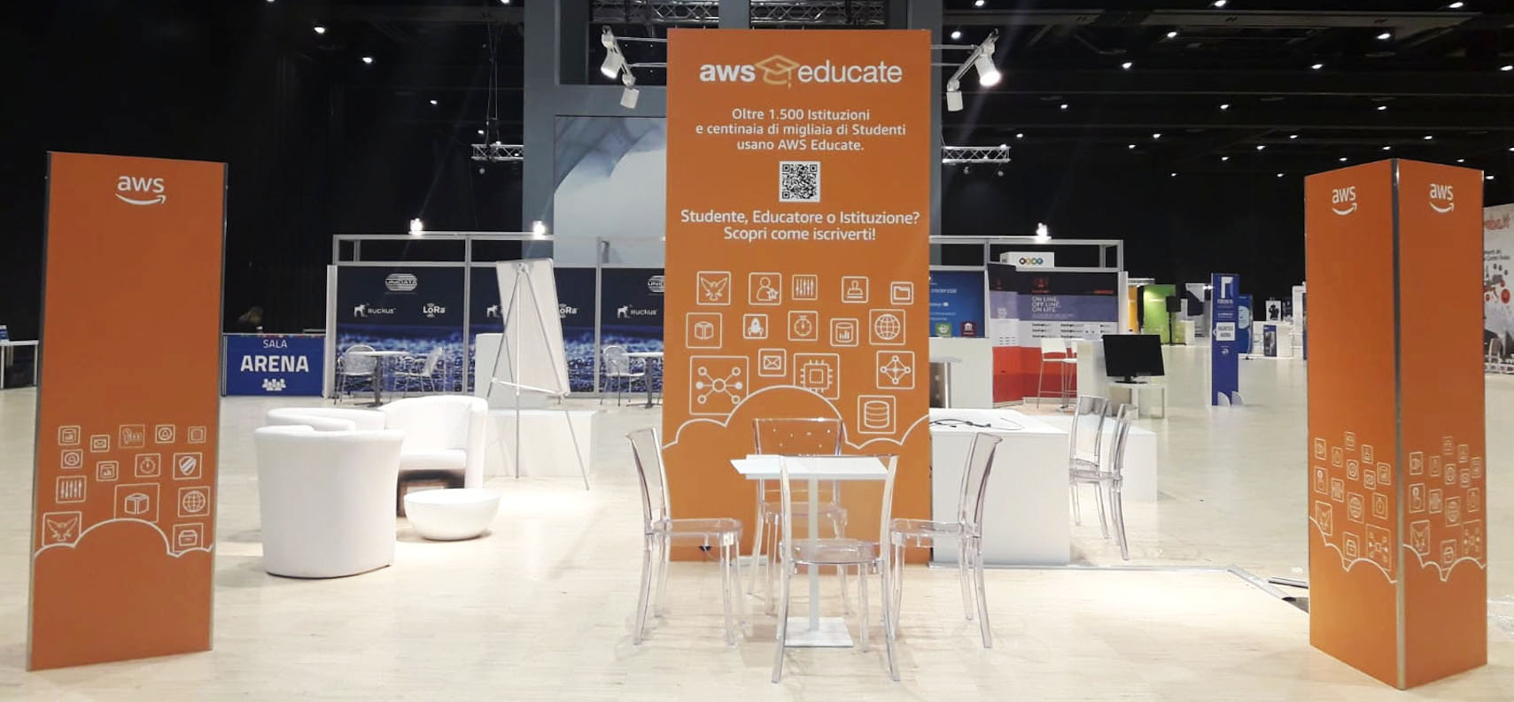 AWS booth at Forum PA fair created by ATC-Linea