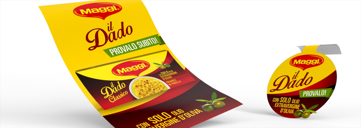 Dado Maggi, packaging design for the stock cube