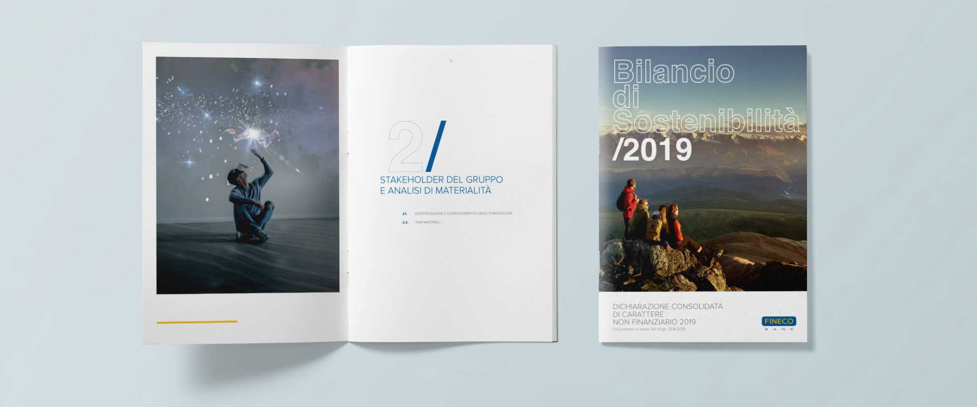 ATC - All Things Communicate graphic restyling of the Fineco Group's 2019 Sustainability report