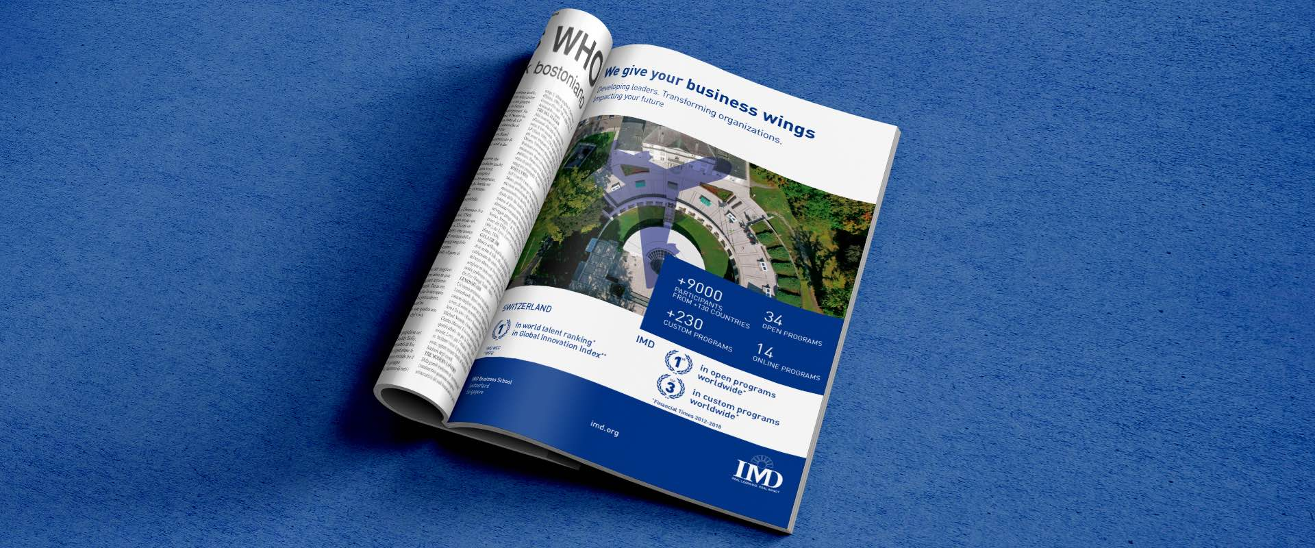 IMD advertising campaign on Brussels Airlines' magazine