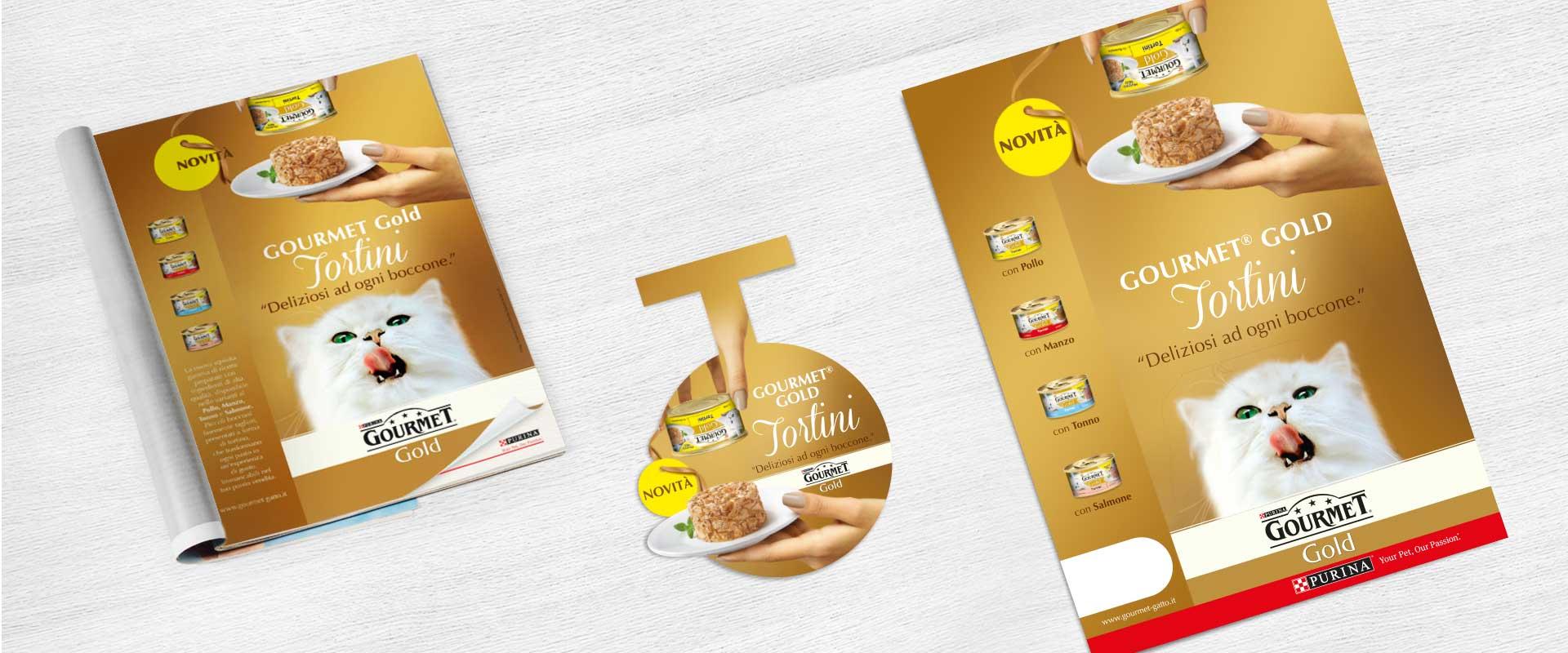 below the line concept graphic design lancio Gourmet Gold Tortini