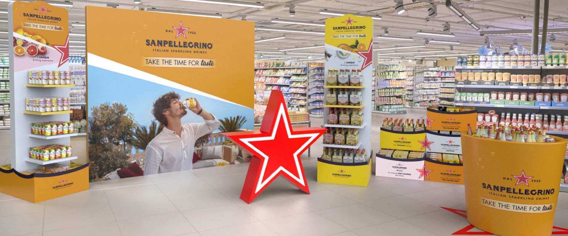 Sanpellegrino ISD modular promotional brand corner for points of sale